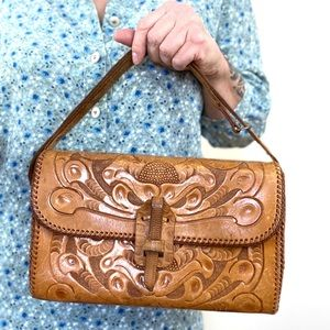 Vintage Hand Tooled Leather Purse Clifton